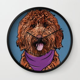 Icons of the Dog Park: Labradoodle Design in Bold Colors for Pet Lovers Wall Clock