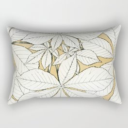 Beige Tan Leaf Vintage Pattern Rectangular Pillow