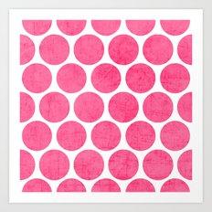 pink polka dots Art Print