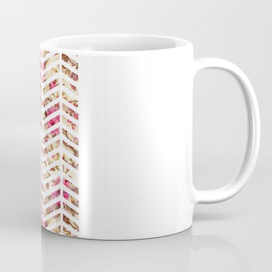 Pink Vintage Floral Girly Chevron Zig Zag Pattern Mug