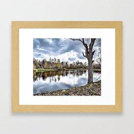 Autumn Lake Airbrush Artwork Framed Art Print