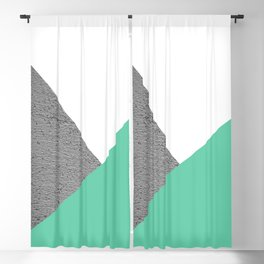 Concrete vs Aquamarine Geometry Blackout Curtain