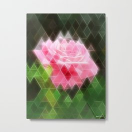 Pink Roses in Anzures 3 Art Triangles 2 Metal Print
