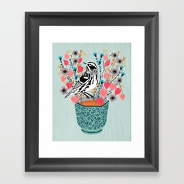 Tea and Flowers - Black and White Warbler by Andrea Lauren Framed Art Print