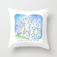 sagan Throw Pillows featuring Bunny Daze - We are all Start Stuff ~ Carl Sagan by Cindy Rodella-Purdy