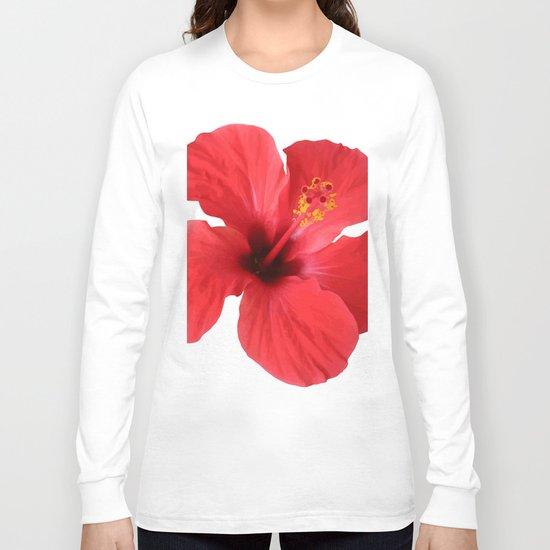 Scarlet Hibiscus Tropical Flower Vector Long Sleeve T-shirt