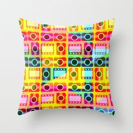Colorful camera pattern Throw Pillow