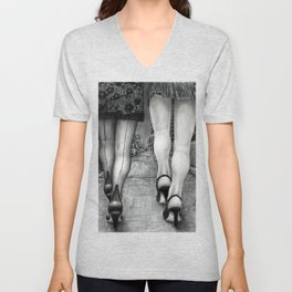 Untitled - Charcoal Drawing - pretty girls, female figure, legs, sexy, beauty Unisex V-Neck
