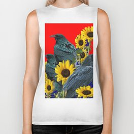 DECORATIVE RED ART SUNFLOWERS & CROW/RAVENS COVEN Biker Tank
