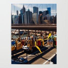Lovelock On Brooklyn Bridge, New York 2015 Poster