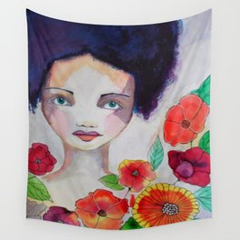 Blue Haired Whimsical Girl Colorful Flowers Wall Tapestry