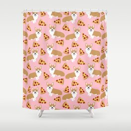Welsh Corgi Pizza pattern funny dog art customized pet portrait children fur baby must have corgi  Shower Curtain