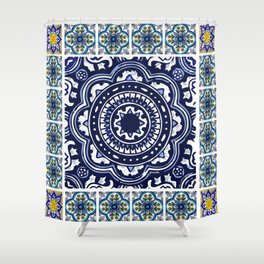 Talavera Mexican tile inspired bold design in blue and white Shower Curtain