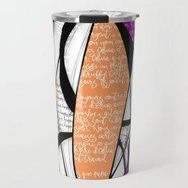 Orange, purple and green digital abstract design Travel Mug