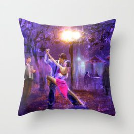 Night tango painting print Throw Pillow