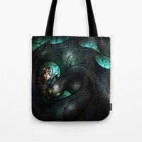mandie manzano Tote Bags featuring The Alpha by Mandie Manzano