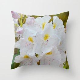 White Rhododendron by Teresa Thompson Throw Pillow