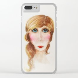 Blue Eyed Lady- Joni Clear iPhone Case