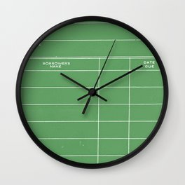 Library Card BSS 28 Negative Green Wall Clock