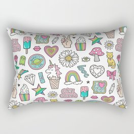 Patches Stickers 90's Doodle Unicorn Ice Cream, Rainbow, Hearts, Stars, Gemstones,Flowers White Rectangular Pillow