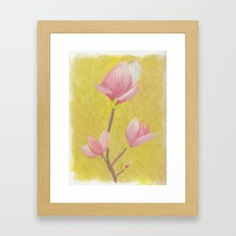 Magnolia with yellow background Framed Art Print