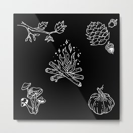 Autumnal Themed Illustration Metal Print