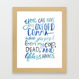 My Beloved Oxford Comma - Blue Lettering Framed Art Print
