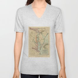 Vintage Virginia and Maryland Colonies Map (1905) Unisex V-Neck