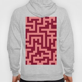 Coral Pink and Burgundy Red Labyrinth Hoody