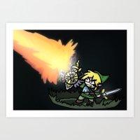 hyrule Art Prints featuring Hyrule Master by PeekingBoo