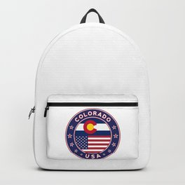 Colorado, Colorado t-shirt, Colorado sticker, circle, Colorado flag, white bg Backpack