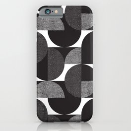 Mid century style circles pattern. Black and white abstract geometric forms textured illustration pattern. Vintage laconic shapes modern repeatable motif.  iPhone Case