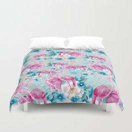 Flamingo and flower pattern Duvet Cover