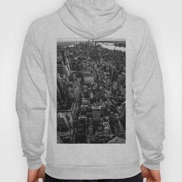 New York Cityscape Aerial (Black and White) Hoody