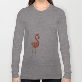 """Just Peachy"" - 5"" x 7"" acrylic painting of a Flamingo by Teresa Thompson Long Sleeve T-shirt"