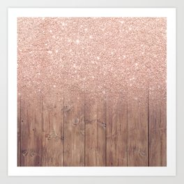 Modern faux rose gold glitter ombre brown rustic wood color block Art Print