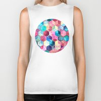 crystal Biker Tanks featuring Topaz & Ruby Crystal Honeycomb Cubes by micklyn
