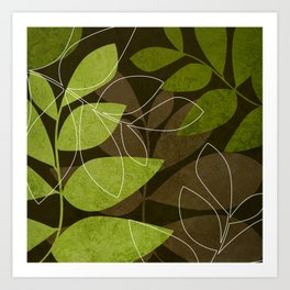 Green Brown Leaves Art Print