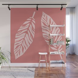 Tropical foliage Flamingo Pink #tropical #leaves #homedecor Wall Mural