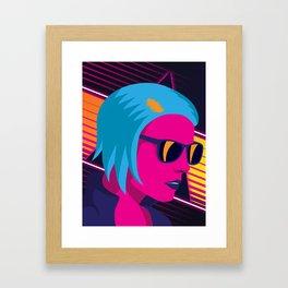 Outrun Girl Framed Art Print