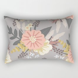 Pink and Gray Floral Pattern Rectangular Pillow
