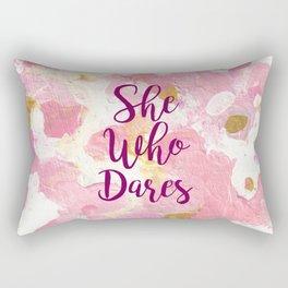 She Who Dares Pink Rose Gold Rectangular Pillow