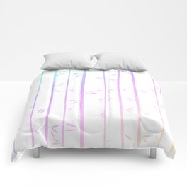 Tropical woody rainbow bamboos Comforters