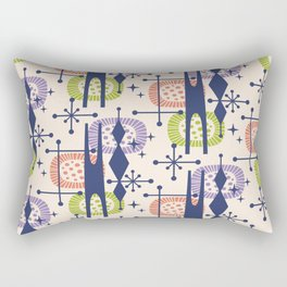 Retro Atomic Mid Century Pattern Blue Purple Green and Orange Rectangular Pillow