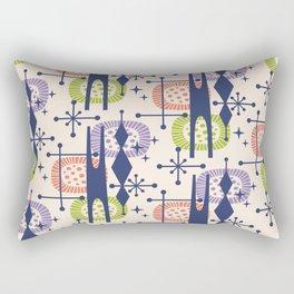 Retro Atomic Mid Century Pattern Blue Purple Green and Orange Rectangular Pillow