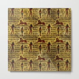 Egyptian Decorative hieroglyphics Pattern Metal Print