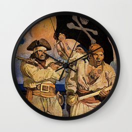 """Pirates"" Treasure Island Cover by NC Wyeth Wall Clock"