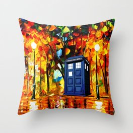 Tardis starry night in the forest Throw Pillow