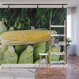 Yellow Corn Over Green Cobs Wall Mural