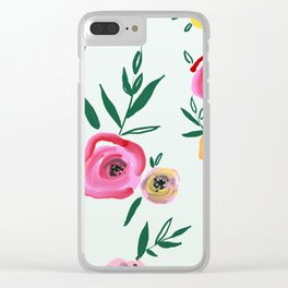 hand draw floral pattern Clear iPhone Case